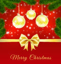 Free Christmas Greeting Card  With Golden Balls Royalty Free Stock Photography - 60793867