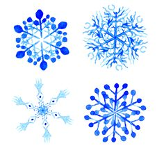 Free Watercolor Snowflakes. Vector Illustration Stock Images - 60793254