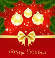 Christmas Greeting Card  With Golden Balls Royalty Free Stock Photography