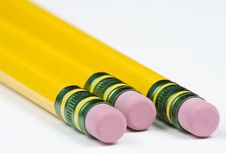 Free Three Pencils With Erasers Stock Photography - 6081042