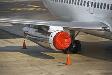 Red Jet Engine Tarpaulin Cover Stock Photos