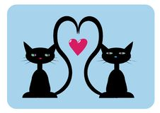 Free Two Black Cats In Love Stock Images - 6084234