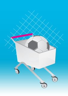 Shopping Cart And Soccer Stock Images