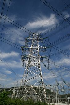 Electricity Power Pylon Standing Stock Photos