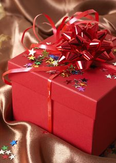 Free Red Gift Box With Bows And Stars Royalty Free Stock Image - 6086316