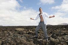 Angry And Stressed Businessman On The Lava Of A Vu Royalty Free Stock Photo