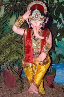 Free Lord Ganesha In Role Of Krishna Stock Photography - 6086772