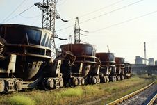 Train Shunting In Steelworks With Smokestacks Stock Image