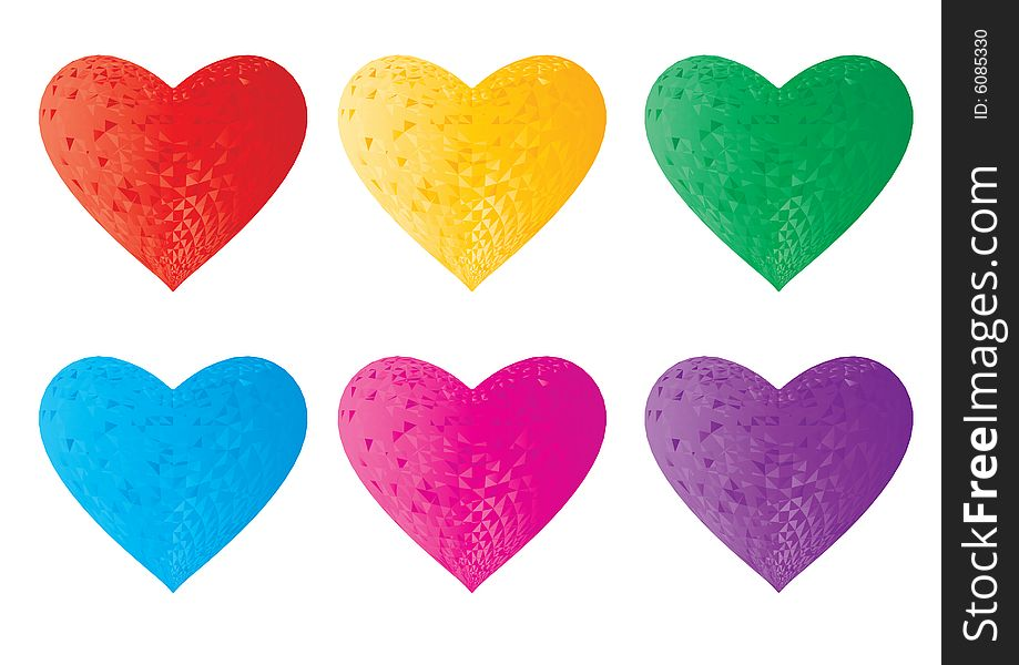 3d crystal colorful hearts
