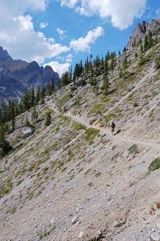 Free Hiking Trail In Rocky Mountains Stock Photography - 6090792