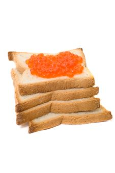 Free Bread And Red Caviar Royalty Free Stock Photography - 6091227