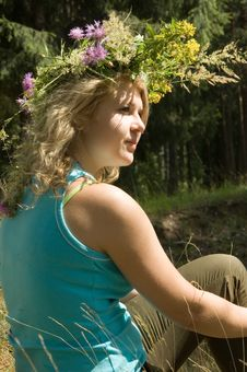 Free Young Beautiful Woman In A Summer Wood Royalty Free Stock Images - 6091479