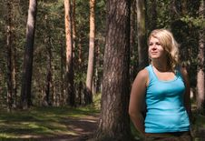 Young Beautiful Woman In A Summer Wood Stock Images