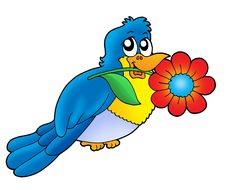 Blue Bird With Flower Royalty Free Stock Photo