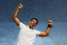 Free Man On Exploding Background Royalty Free Stock Photography - 6094717