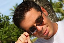 Free Man Pulling Down Shades Stock Image - 6094731