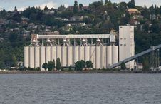 Grain Silos At Elliott Bay Washington Royalty Free Stock Image