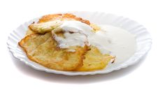 Free Pancake From Marrow And Lure On Plate Stock Photography - 6096552
