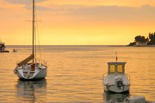 Free Boats At Sunset Stock Image - 6097131