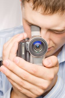 Free Closeup Man Portrait With Videocamera Royalty Free Stock Photo - 6098975