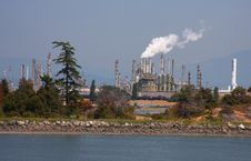Oil Refinery And Nature Royalty Free Stock Image