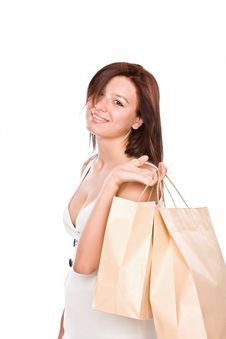 Free The Young Girl With Packages After Shopping. Royalty Free Stock Image - 6099286