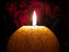 Free Candle With Roses Stock Images - 6099294