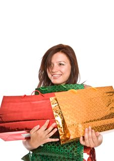 Free The Young Girl With Packages After Shopping. Stock Photo - 6099310