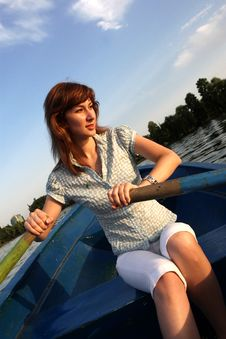 Free Girl Rowing Boat Royalty Free Stock Photo - 6099465