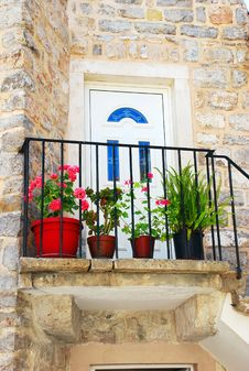 Old Stone House In Montenegro - Entrance Door Stock Images