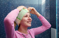 Free Woman In A Bathroom With A Towel On Her Head Stock Photo - 60932710