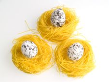 Three Eggs On Pasta Nests Stock Image