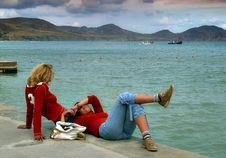 Free Two Girlfriends On Coast Stock Photos - 610533