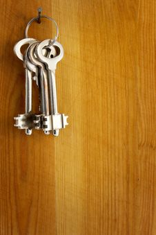 Keys On A Wooden Wall Stock Image