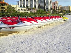 Jet Skis For Rent At The Beach Stock Photography