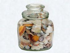 Jar Of Seashells Stock Photography