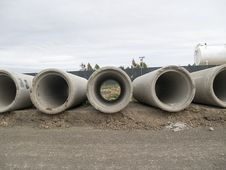 Concrete Sewer Pipes 3 Stock Photos