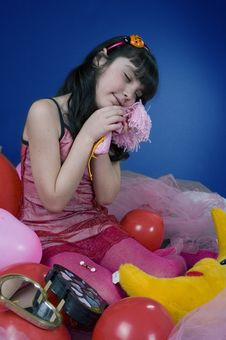 Free Young And Beautiful Girl Playing With Her Doll Stock Photography - 619362