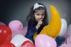 Free Sweet Young Girl Playing With Her Plush Moon Stock Images - 619374