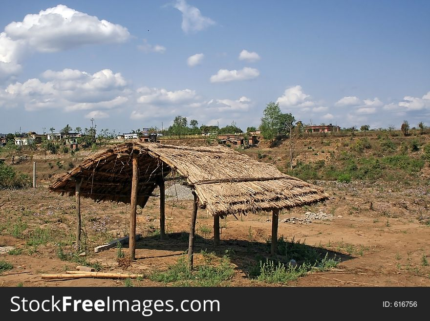 Abandoned Thatched Hermit gypsy Hut  India