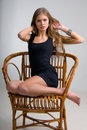 Free Slim Girl On A Chair Royalty Free Stock Photos - 6103448