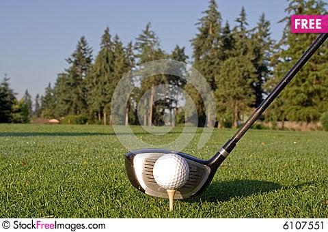 Free Golf Driver And Ball - Horizontal Stock Image - 6107551