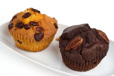 Two Muffins On A Plate Stock Photo