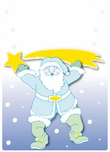 Free Santa Claus With Starred Comet Stock Photo - 6101100