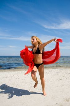 Beautiful Girl With Red Shawl Royalty Free Stock Image