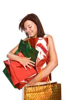 Free The Young Girl With Packages After Shopping. Stock Photography - 6101502