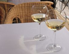 Cool White Wine For A Supper Royalty Free Stock Photos