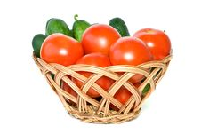 Free Basket With Tomatoes And Cucumbers Royalty Free Stock Images - 6105749