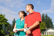 Free Golfers Look Into Distance - Horizontal Stock Photos - 6107033
