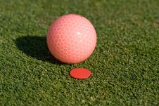 Free Pink Golfball Sits Alongside Marker - Horizontal Royalty Free Stock Photo - 6107045